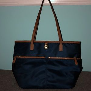 NWOT Michael Kors Navy/Brown Nylon Bag